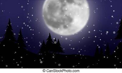 énorme, graphique, flocons neige, lune, entiers, fond, animation