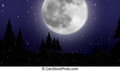 énorme, graphique, neige, lune, entiers, fond, animation