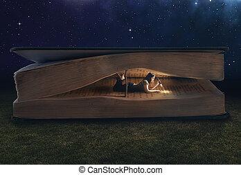 énorme, intérieur, femme, livre, lecture