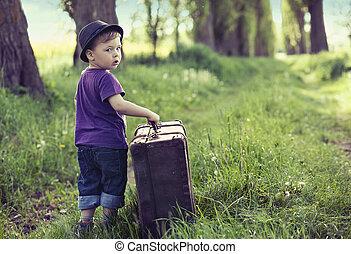 énorme, peu, bagage, partir maison, homme
