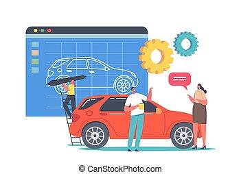 énorme, prototype, minuscule, creation., processus, voiture, peinture, transport, modèle, automobile, concepteur, caractère, prototyping