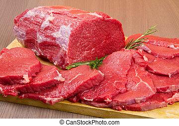 énorme, viande, gros morceau, bois, table, bifteck, rouges