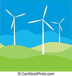 éolienne, champ, vecteur