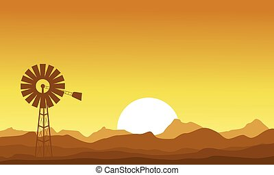 éolienne, coucher soleil, silhouette