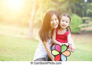 éolienne, extérieur, fille, park., asiatique, jeu mère