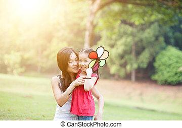éolienne, fille, nature, park., jeu mère