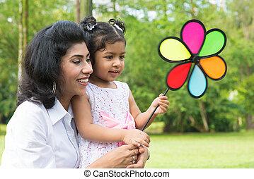 éolienne, jouer, parent, enfant