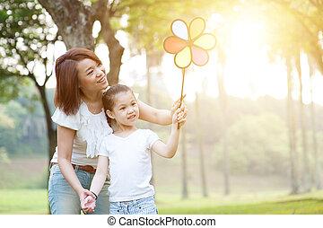 éolienne, nature, enfants, park., jeu mère