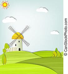 éolienne, paysage
