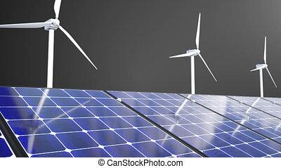 éoliennes, écologie, générer, rendre, tourner, informatique, conception, panneaux solaires, 3d