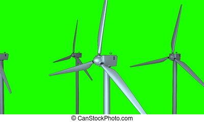 éoliennes, écologie, render, espace, générer, tourner, fond, informatique, conception, 3d