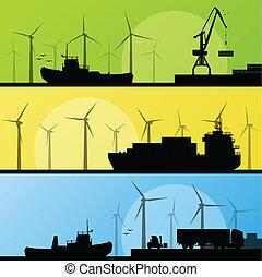 éoliennes, électricité, affiche, lin, océan, port, générateurs, mer, vent