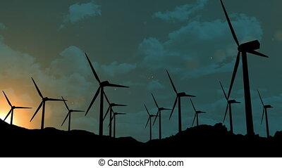 éoliennes, coucher soleil