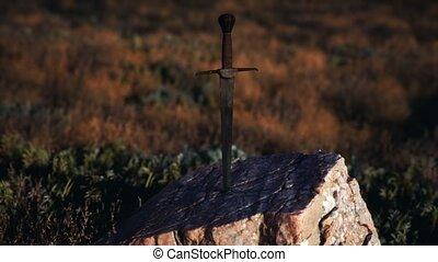 épée, arthur, roi, rocher, excalibur, célèbre