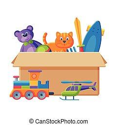 épée, carton, teddy, vecteur, illustration, train, divers, jouets, scateboard, récipient, plat, ours, boîte