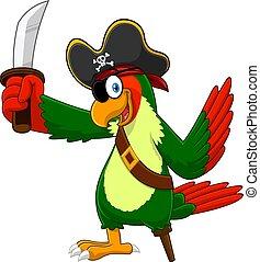 épée, pirate, perroquet, dessin animé, oiseau, caractère