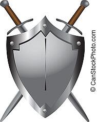 épées, moyen-âge, bouclier