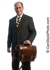 épaule, business, attaché, cuir, voyage, cadre, confiant, sac, personne agee, heureux