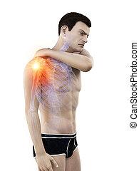 épaule, jointure, avoir, douloureux, homme