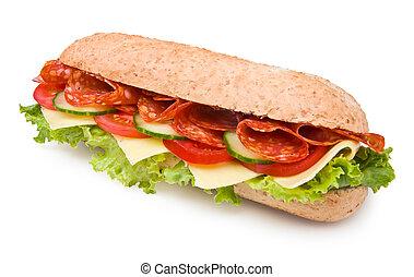 épicé, isolé, salami, sandwich, frais, blanc, deli-style