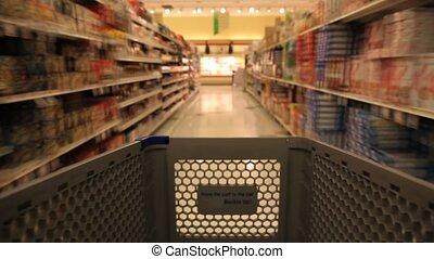 épicerie commerciale, magasin, charrette