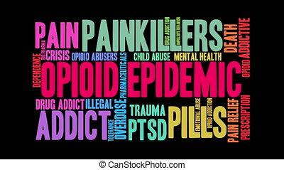 épidémie, opioid, nuage, mot