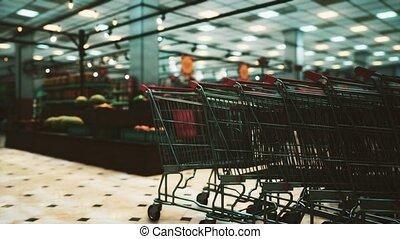 épidémie, vide, supermarché, covid-19