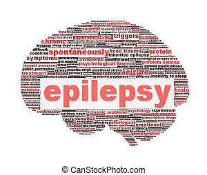 épilepsie, symbole, concept, isolé, blanc