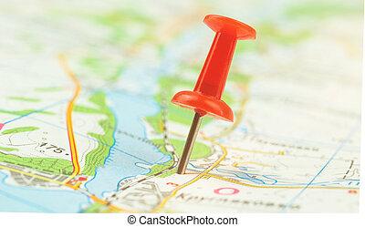 épingle, fond, navigation, carte ville, concept, cartographie, photo, poussée, rouges