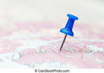 épingle, voyage, carte, bleu, destination