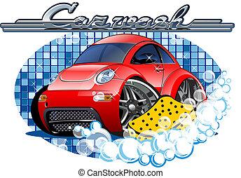 éponge, voiture, lavage, signe
