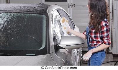 éponge, voiture, lave, femme, jeune
