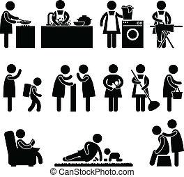 épouse, femme, mère, routine quotidienne