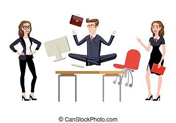 épuisé, bureau., travail, méditer, workplace., bureau, employé, relaxation