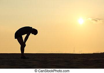 épuisé, coucher soleil, silhouette, sportif