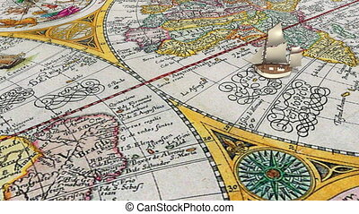 équateur, bateau, croix, dessin animé, voile