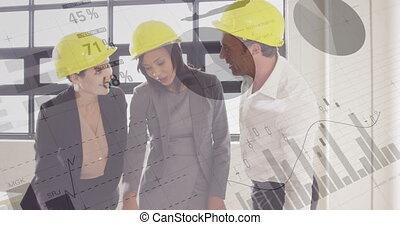 équations, mathématique, ouvriers, sur, plans., site, fonctionnement