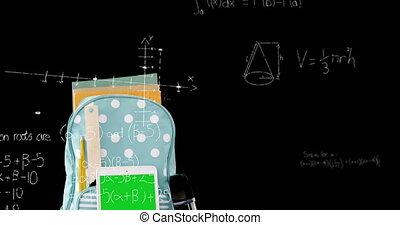 équations, mathématique, sac à dos, écouteurs, flotter, tablette numérique, surface, contre, bois