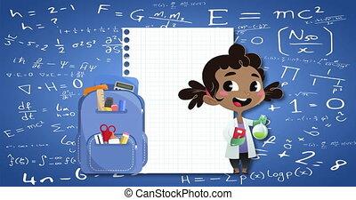 équations, sac à dos, mathématique, papier, bleu, icônes, fond, girl, contre, école
