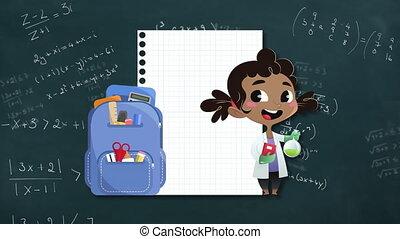 équations, sac à dos, mathématique, tableau noir, icônes, papier, girl, contre, école