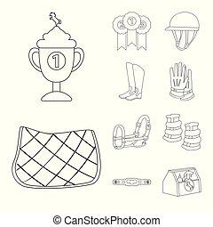 équestre, cheval, symbole., vecteur, collection, conception, stockage, cheval, illustration.
