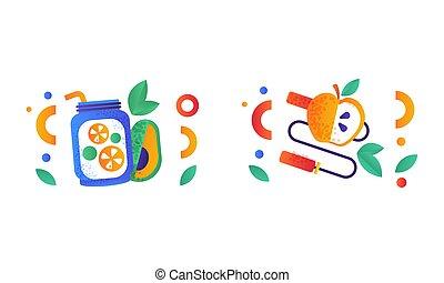 équilibré, illustration, régime, sports, symboles, plat, sain, équipement, nourriture, vecteur, style de vie, ensemble, signes