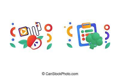 équilibré, illustration, régime, symboles, plat, nourriture saine, vecteur, style de vie, ensemble, signes