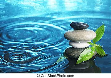 équilibré, pierres, eau