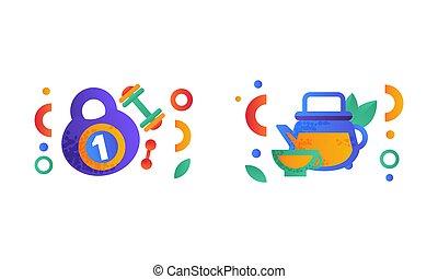 équilibré, sports, haltère, nourriture, ensemble, symboles, plat, équipement, régime, bouilloire, vert, illustration, signes, sain, thé, vecteur, verre, kettlebell, style de vie
