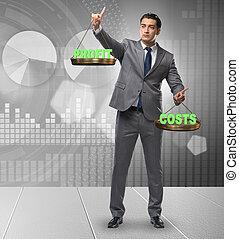 équilibre, concept, cout, bénéfice, homme affaires