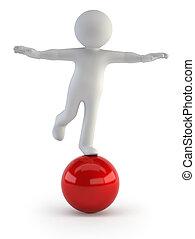 équilibre, -, gens, petit, 3d