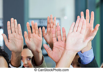 équipe, business, ensemble, mains