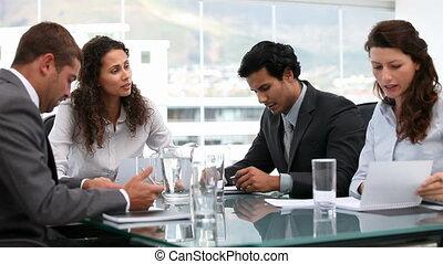 équipe, business, ethnique, fonctionnement, multi