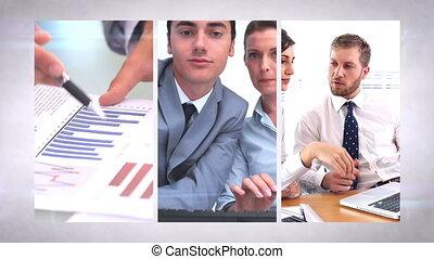 équipe, business, montage
